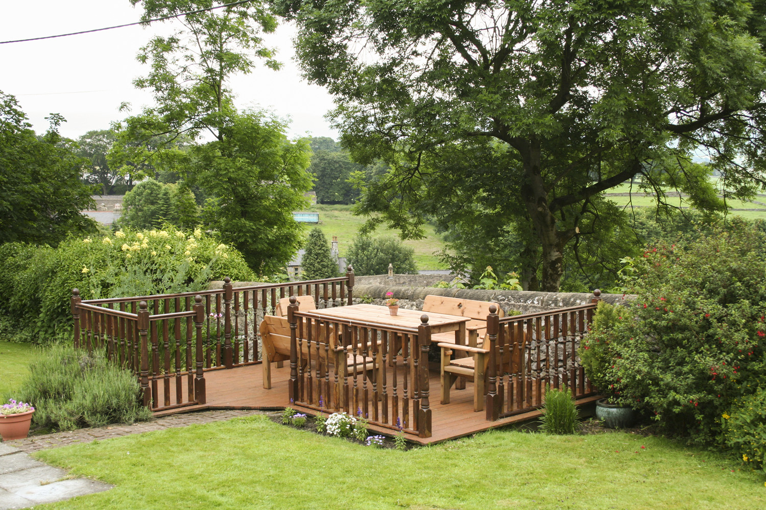 Decking area for outdoor dining.
